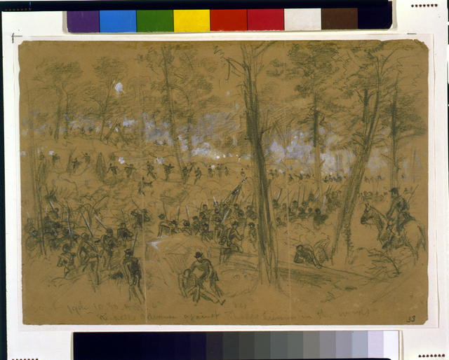 Rickett's advance against Rhodes [sic] division in the woods
