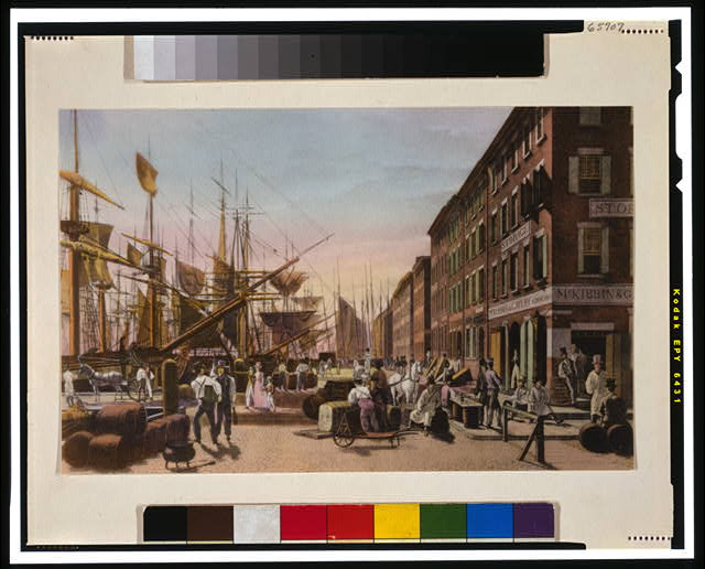 [Busy wharf scene, New York City in early 19th Century]