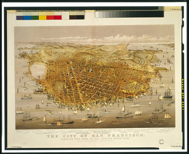 The City of San Francisco. Birds eye view from the bay looking south-west /