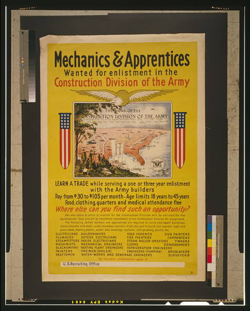 Mechanics & apprentices wanted for enlistment in the Construction Division of the Army