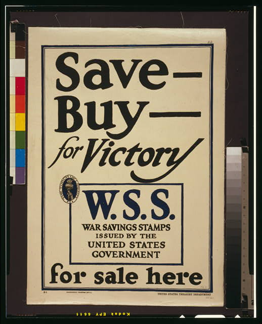 Save - Buy - for victory--W.S.S. for sale here War Savings Stamps issued by the United States Government.