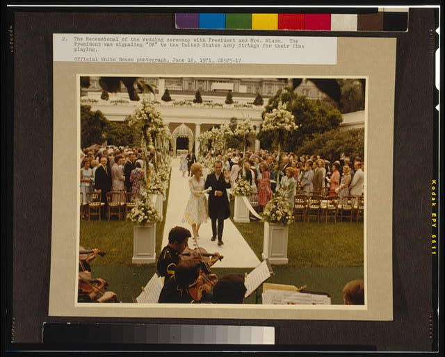 "The recessional of the wedding ceremony with President and Mrs. Nixon--The President was signaling ""OK"" to the United States Army Strings for their fine playing"