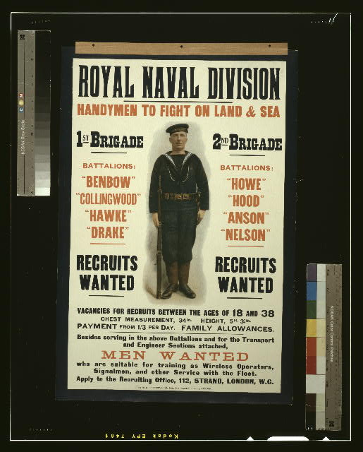 Royal naval division. Handymen to fight on land & sea [...] Men wanted [...]