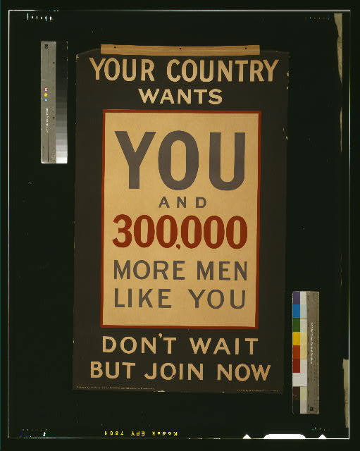 Your country wants you and 300,000 more men like you. Don't wait but join now