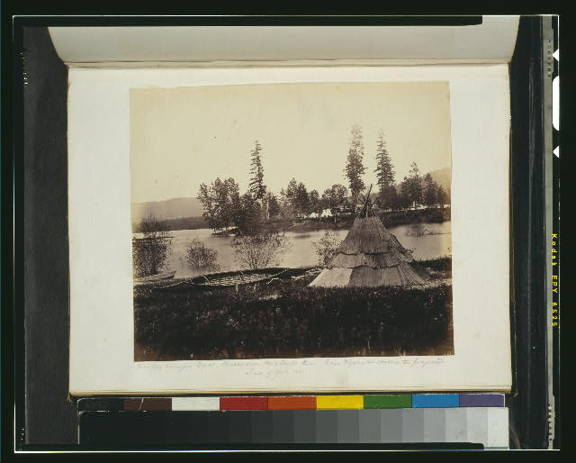 Boundary Commission depot, Siniakwateen, Pend Oreille River - Indian wigwam and canoe in the foreground, season of the flood, 1861