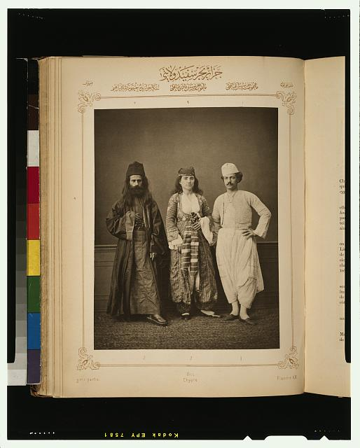 [Studio portrait of models wearing traditional clothing from the province of Îles d'Archipel (Islands of the Archipelago), Ottoman Empire]
