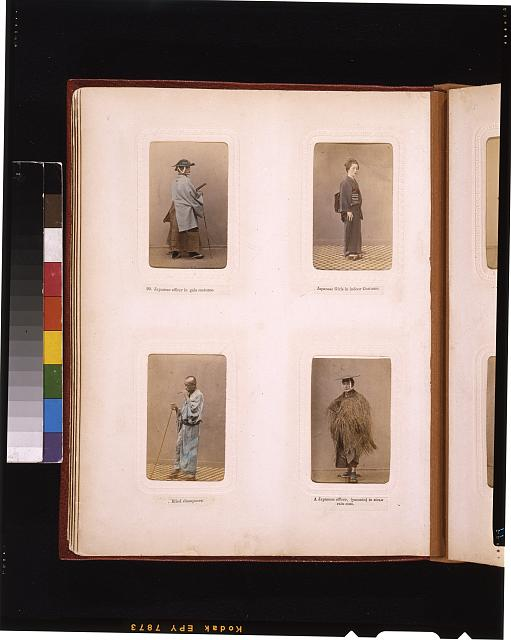 "[Studio portraits of a Japanese officer, a girl in indoor dress, a blind ""shampooer"" (masseur), and an officer in a straw raincoat]"