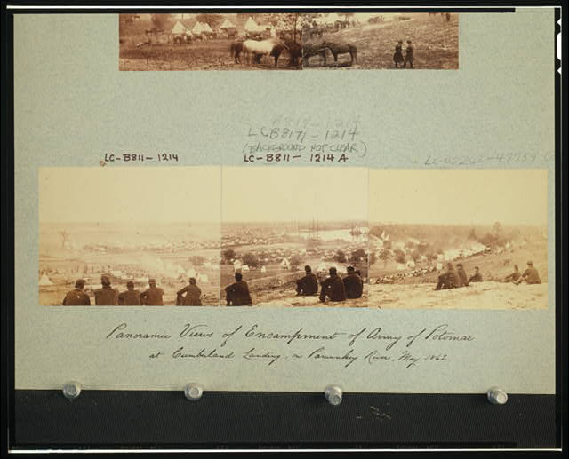 Panoramic views of encampment of Army of Potomac at Cumberland Landing, on Pamunky River, May 1862