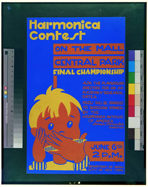 Harmonica contest on the mall, Central Park Final championship.