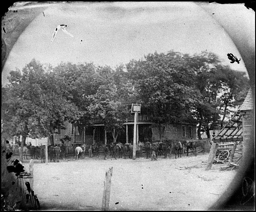 [Cold Harbor, Va, vicinity. Cavalry horses outside the Old Church Hotel]