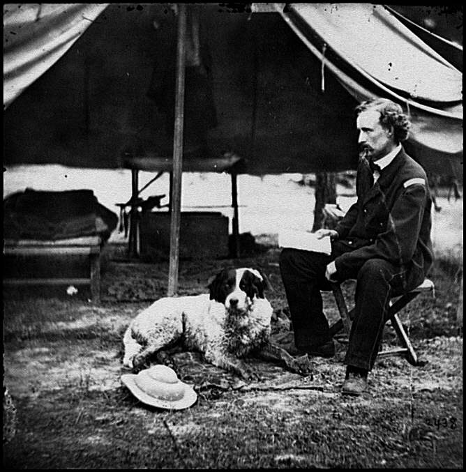 [The Peninsula, Va. Lt. George A. Custer with dog]