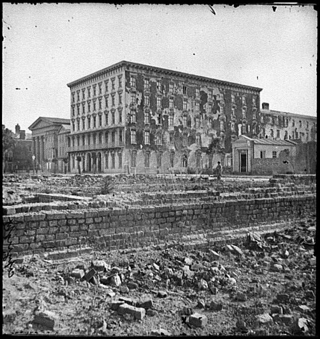 [Charleston, S.C. The fire-scarred Mills House; Hibernian Hall at left]