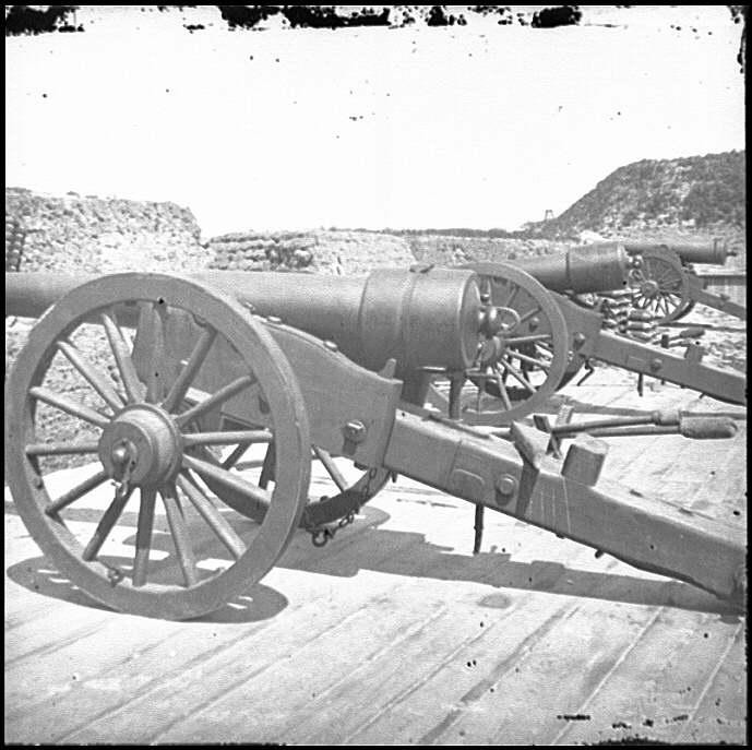 [Morris Island, S.C. Battery of 100-pdr. Parrott guns inside Fort Putnam]