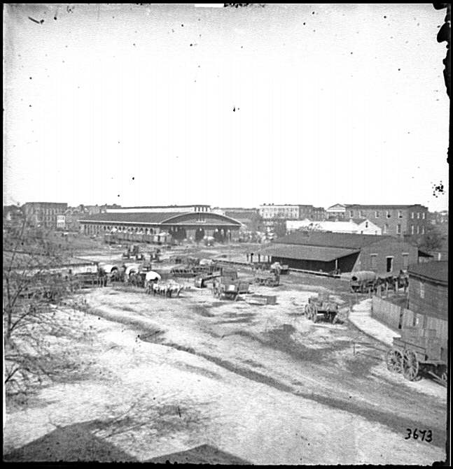 [Atlanta, Ga. Railroad depot and yard; Trout House and Masonic Hall in background]