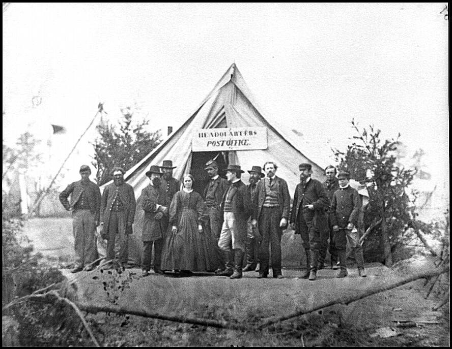 [Falmouth, Va. Group in front of post office tent at Army of the Potomac headquarters]