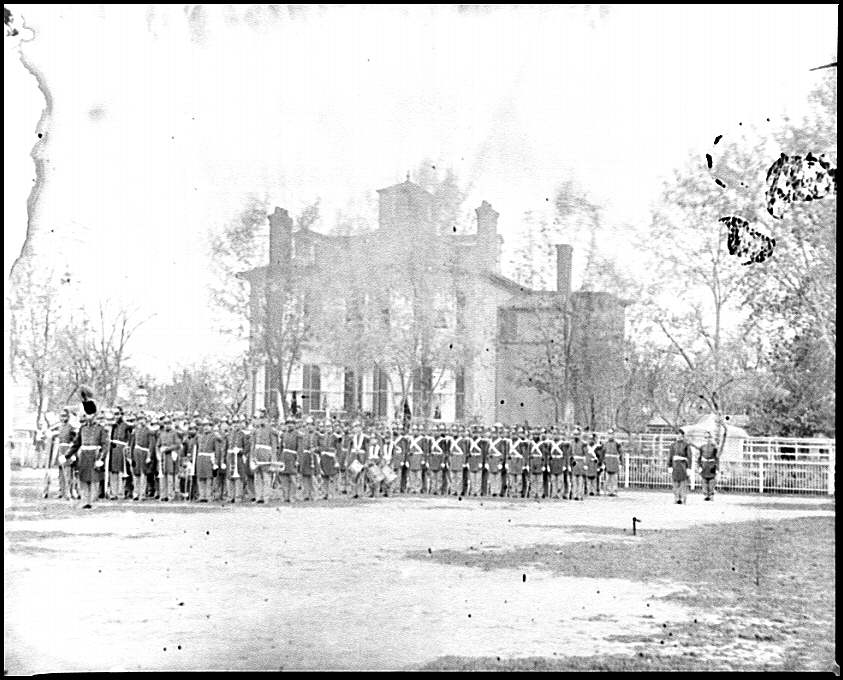 [Washington, D.C. Marine battalion in front of Commandant's House at the Marine barracks]