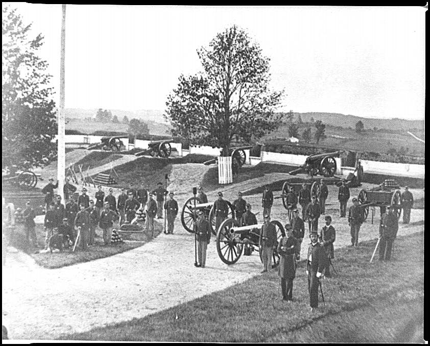 [District of Columbia. Officers and men of Company F, 3d Massachusetts Heavy Artillery, in Fort Stevens]