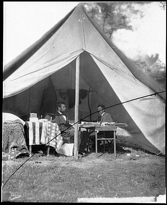 [Antietam, Md. President Lincoln and Gen. George B. McClellan in the general's tent]