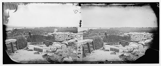 Yorktown, Virginia. Confederate battery with McClellan's No. 1 mortar battery in the distance