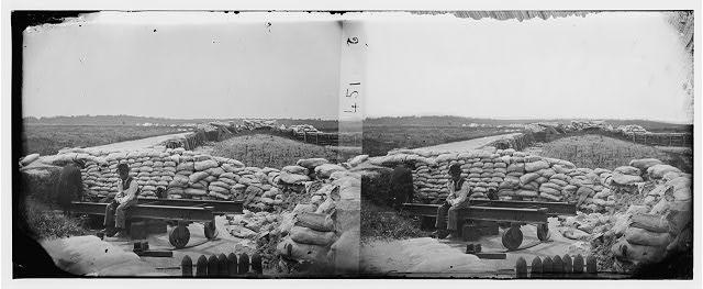 [Yorktown, Va. Confederate sandbag fortifications]