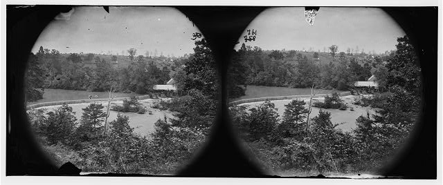 North Anna River, Virginia. Quarles' mill from the south side. General headquarters, Army of the Potomac in the distance