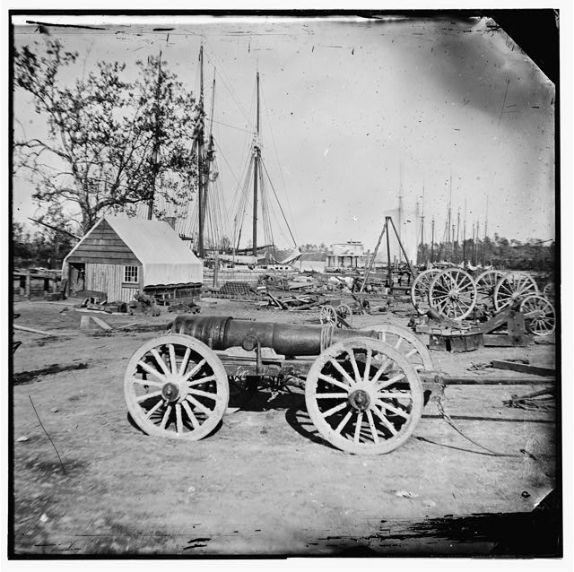 Broadway Landing, Appomattox River, Virginia. Park of artillery