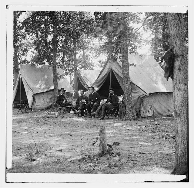 [Bealeton, Va. Members of the Bureau of Military Information: Col. George H. Sharpe, John C. Babcock, unidentified, and Lt. Col. John McEntee]