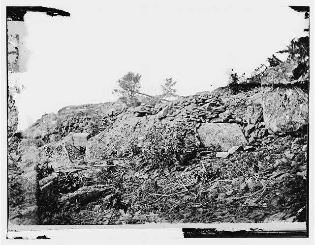 Gettysburg, Pennsylvania. Line of breastworks looking eastward