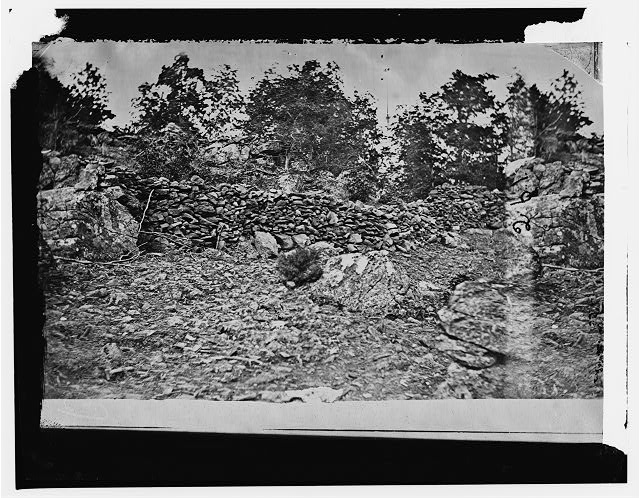 Gettysburg, Pennsylvania. View of breast works on Round Top