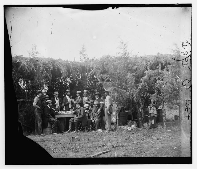 Petersburg, Virginia. Group at Telegraphic Corps quarters. Headquarters, Army of the Potomac