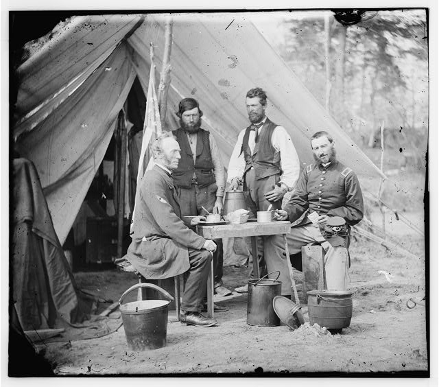 [Yorktown, Va., vicinity. Group before the photographic tent at Camp Winfield Scott]