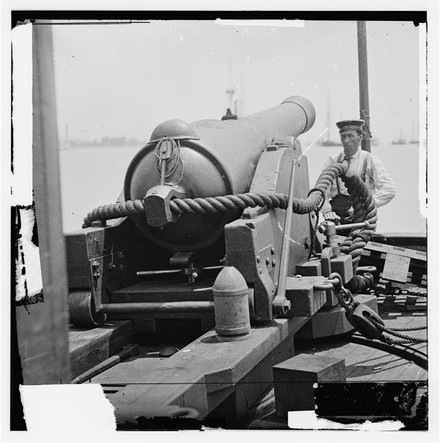 James River, Virginia. 100 pdr. gun on Confederate gunboat TEASER captured on July 4, 1862 by U.S.S. MARATANZA