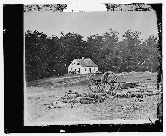 Antietam, Maryland. Bodies in front of the Dunker church
