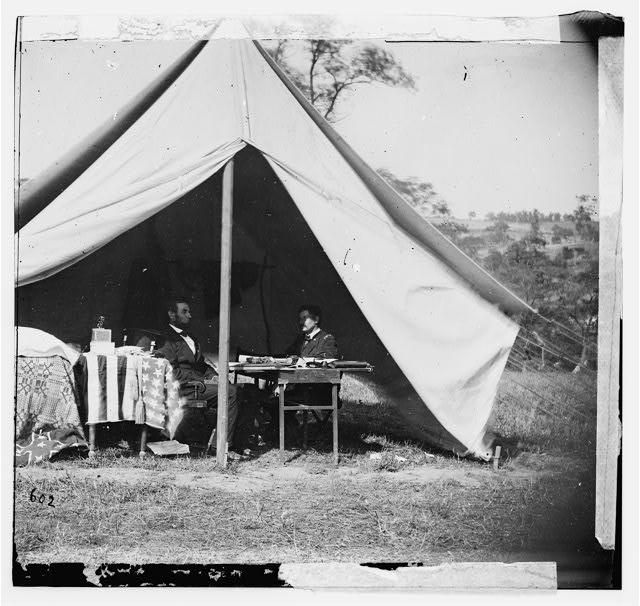[Antietam, Md. President Lincoln and Gen. George B. McClellan in the general's tent; another view]