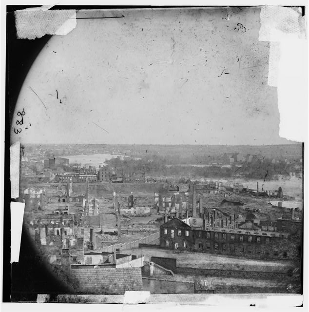 Richmond, Virginia. Ruins of State Arsenal and view down James River
