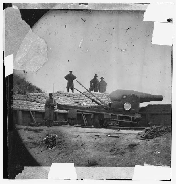 Fort Fisher, North Carolina. Interior view. English Armstrong gun