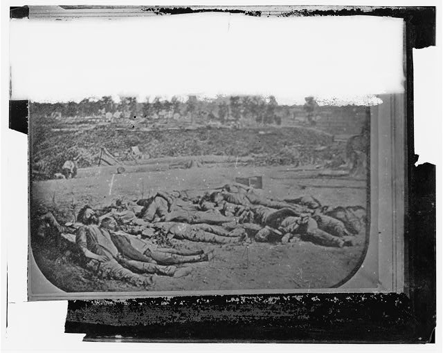 Corinth, Mississippi. Confederate dead in front of Battery Robinette (Photo by [N. Brown] the morning after the attack)