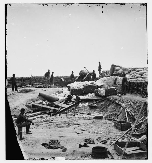 Yorktown, Virginia (vicinity). Confederate fortifications reinforced with bales of cotton