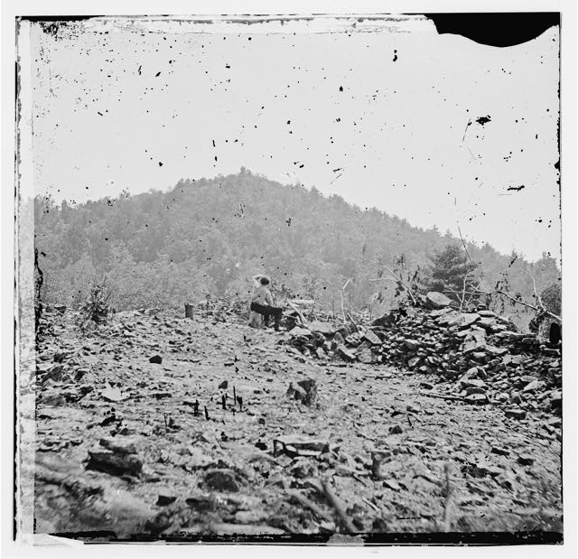 Gettysburg, Pennsylvania. Big Round Top from entrenchments on Little Round Top