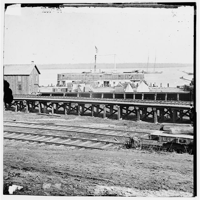 City Point, Virginia. Railroad tracks and dock