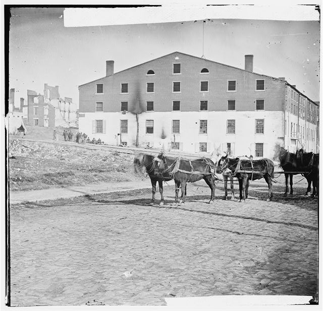Richmond, Virginia. Libby Prison. (six-mule team in foreground)