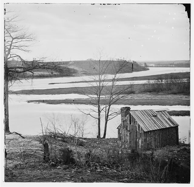 Petersburg, Virginia (vicinity). View of James River and canal