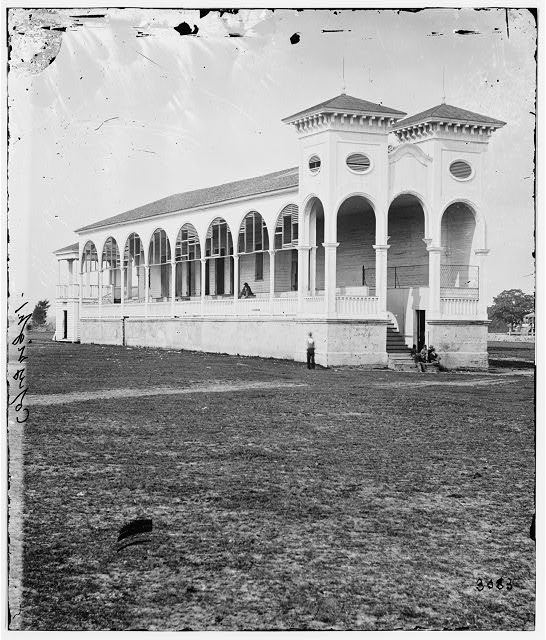 Charleston, South Carolina. Club house at the race course where Federal officers were confined