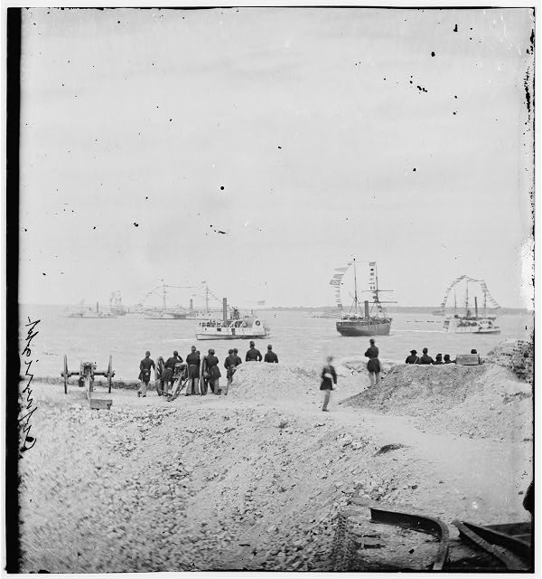 [Charleston, S.C. Federal squadron dressed with flags; another view]