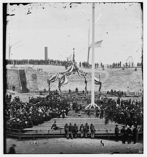 Charleston, South Carolina. Flag-raising ceremony at Fort Sumter. Arrival of Gen. Robert Anderson and guests