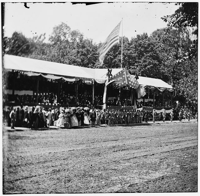 Washington, District of Columbia. The grand review of the Army. Presidential reviewing stand with guests and guard