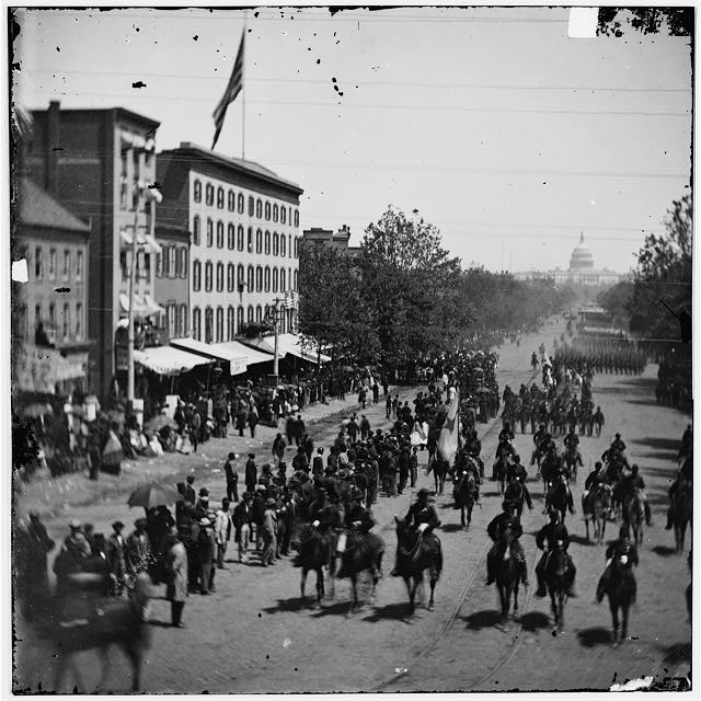 Washington, District of Columbia. Grand Review of the Army [Cavalry] and infantry passing on Pennsylvania Avenue near the Treasury
