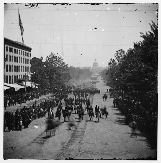 Washington, District of Columbia. The Grand Review of the Army. Gen. Jefferson C. Davis, staff and 19th Army Corps passing on Pennsylvania Avenue near the Treasury
