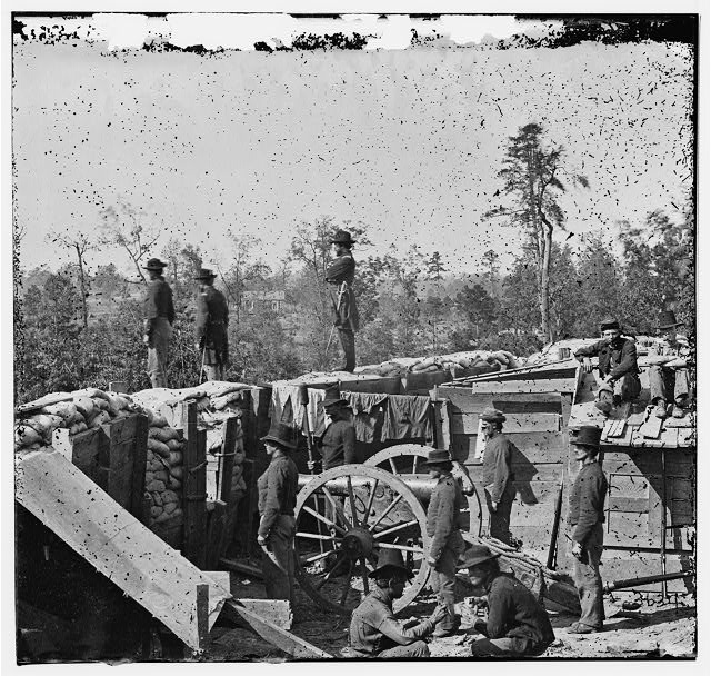 Atlanta, Georgia. Sherman's men in Confederate fort east of Atlanta