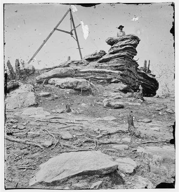 [Chattanooga, Tenn., vicinity. Tripod signal erected by Capts. Dorr and Donn of U.S. Coast Survey at Pulpit Rock on Lookout Mountain]